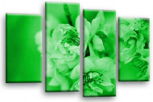 Floral Flower Wall Art Picture Green Grey Spring Blossom Print Split